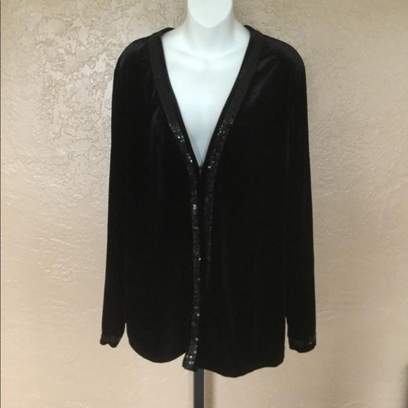 Quacker Factory Black Velvet Tank Jacket Set XL